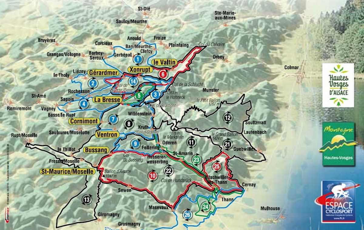 itinéraires cyclotourisme La Bresse